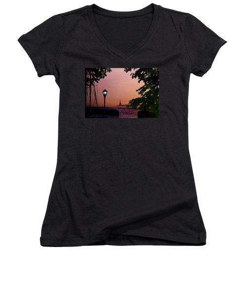 Women's V-Neck T-Shirt (Junior Cut) featuring the digital art Liberty Fading Seascape by Steve Karol