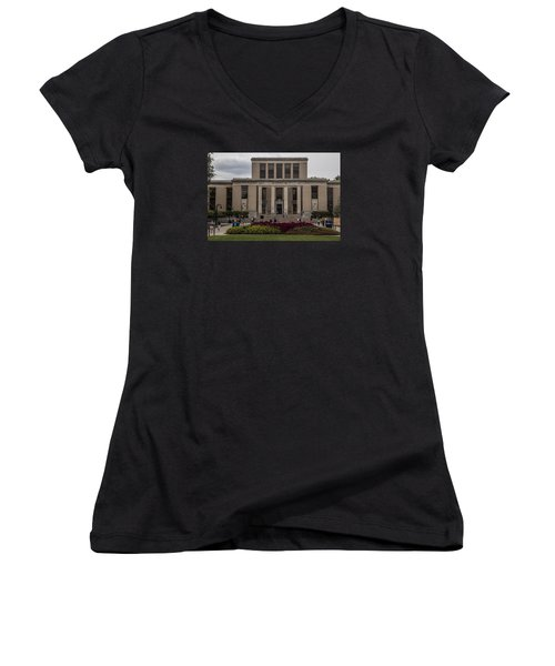 Library At Penn State University  Women's V-Neck T-Shirt (Junior Cut) by John McGraw