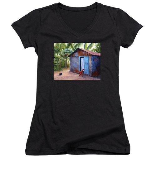Life In Haiti Women's V-Neck T-Shirt (Junior Cut) by Janet King