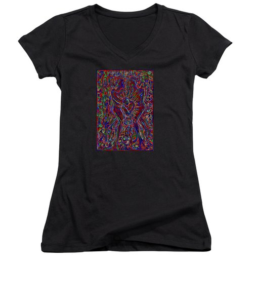 Women's V-Neck T-Shirt (Junior Cut) featuring the mixed media Life Series 3 by Giovanni Caputo