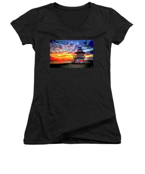 Lifeguard Tower At Miami South Beach, Florida Women's V-Neck T-Shirt (Junior Cut) by Charles Shoup