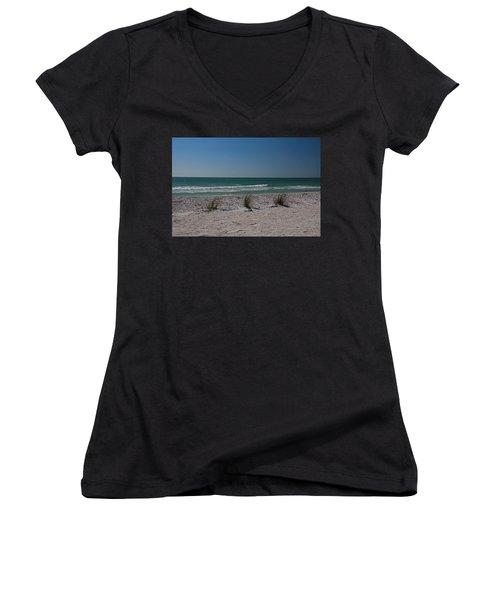 Women's V-Neck T-Shirt (Junior Cut) featuring the photograph Life's A Beach by Michiale Schneider
