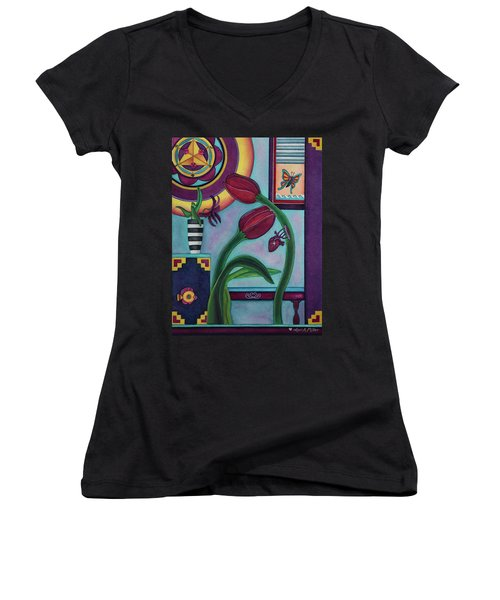 Women's V-Neck T-Shirt (Junior Cut) featuring the painting Lifting And Loving Each Other by Lori Miller