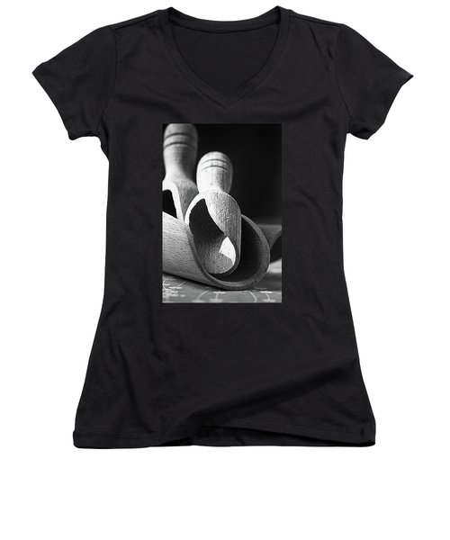 Light And Shadows On Wooden Spoons  Women's V-Neck T-Shirt