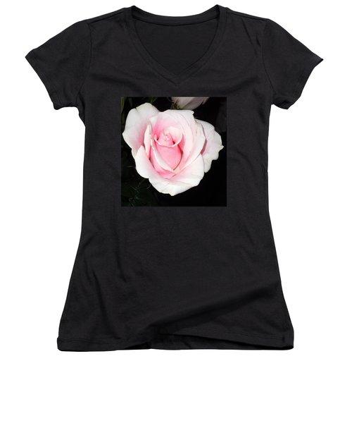Light Pink Rose Women's V-Neck T-Shirt (Junior Cut) by Karen J Shine