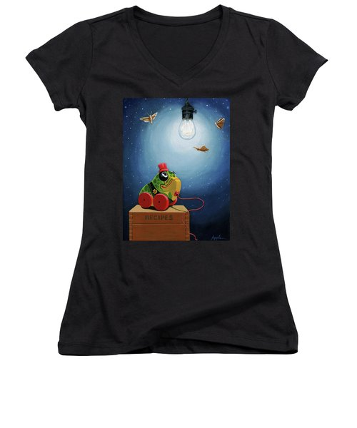 Women's V-Neck T-Shirt (Junior Cut) featuring the painting Light Snacks Original Whimsical Still Life by Linda Apple