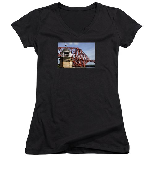 Women's V-Neck T-Shirt (Junior Cut) featuring the photograph Light Tower by Jeremy Lavender Photography