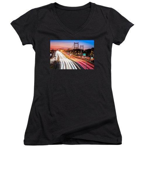 Light Trails On I-278 Near Triboro Bridge Women's V-Neck T-Shirt