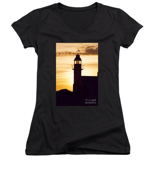Lighthouse At Sunset Women's V-Neck T-Shirt (Junior Cut) by Mary Mikawoz