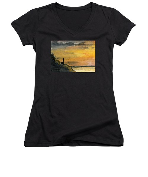 Lighthouse Oversees Coast Women's V-Neck T-Shirt (Junior Cut) by R Kyllo