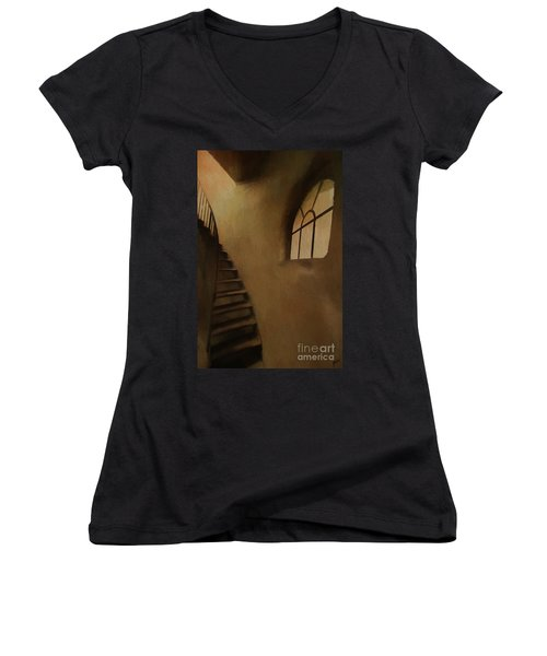Women's V-Neck T-Shirt (Junior Cut) featuring the photograph Lighthouse Stairs by Jim  Hatch