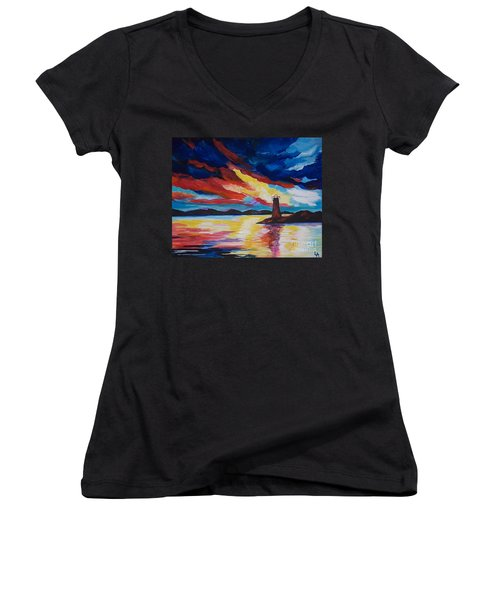 Lighthouse Storm Women's V-Neck T-Shirt (Junior Cut) by Leslie Allen