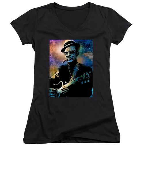 Lightnin Hopkins Women's V-Neck (Athletic Fit)
