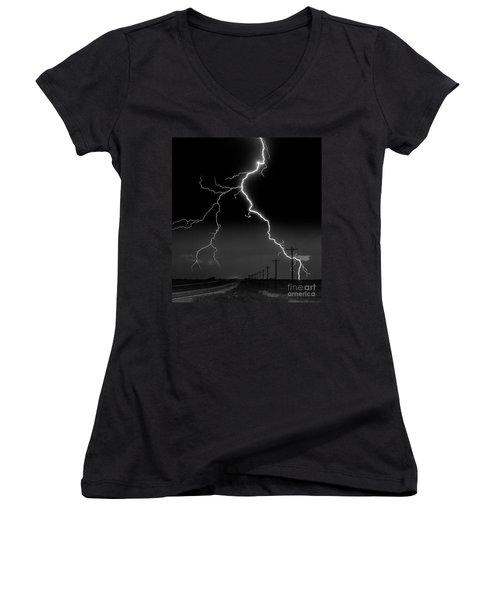 Lightning Bolt Women's V-Neck (Athletic Fit)