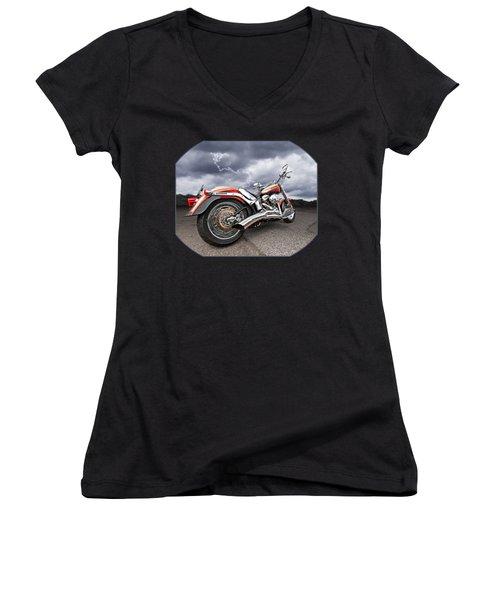 Lightning Fast - Screamin' Eagle Harley Women's V-Neck T-Shirt (Junior Cut) by Gill Billington