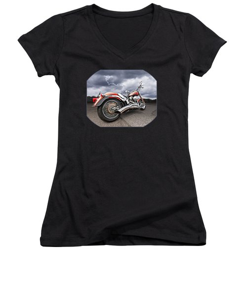 Lightning Fast - Screamin' Eagle Harley Women's V-Neck T-Shirt (Junior Cut)