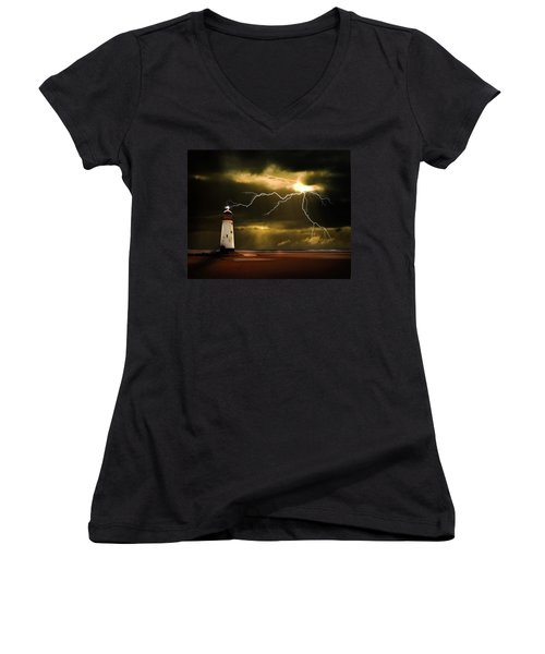 Lightning Storm Women's V-Neck T-Shirt