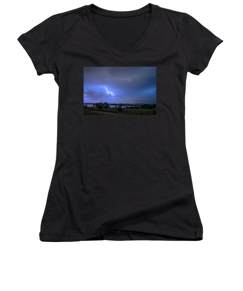 Women's V-Neck T-Shirt featuring the photograph Lightning Striking Over Boulder Reservoir by James BO Insogna