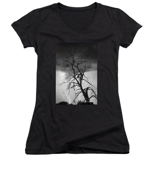 Lightning Tree Silhouette Portrait Bw Women's V-Neck