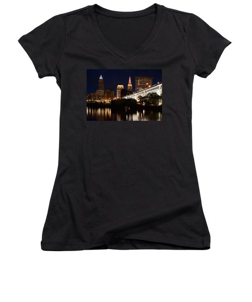 Women's V-Neck featuring the photograph Lights In Cleveland Ohio by Dale Kincaid