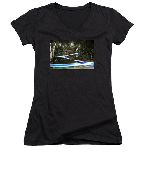 Lights On Lombard Black And White Women's V-Neck