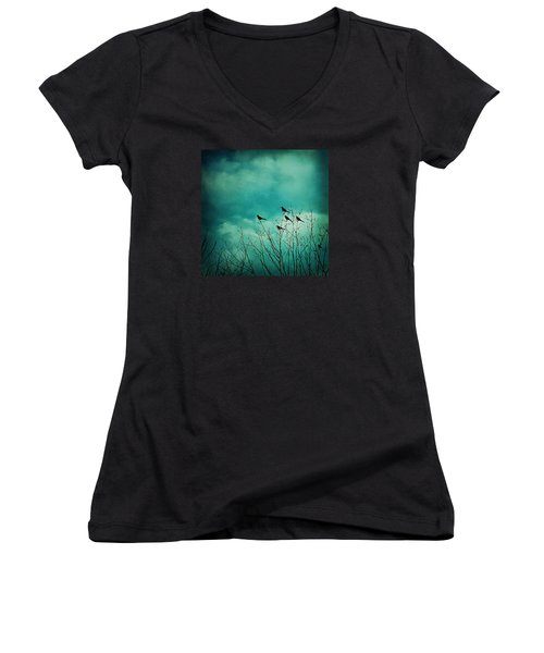 Women's V-Neck T-Shirt (Junior Cut) featuring the photograph Like Birds On Trees by Trish Mistric