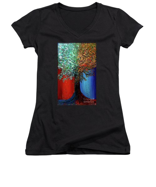 Like The Changes Of The Seasons Women's V-Neck T-Shirt (Junior Cut) by Ania M Milo