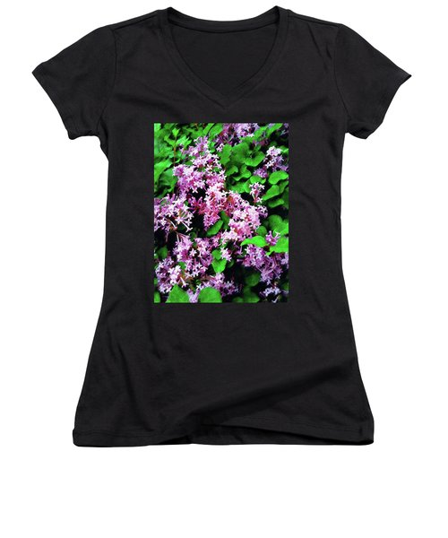 Women's V-Neck T-Shirt (Junior Cut) featuring the painting Lilacs In May by Sandy MacGowan