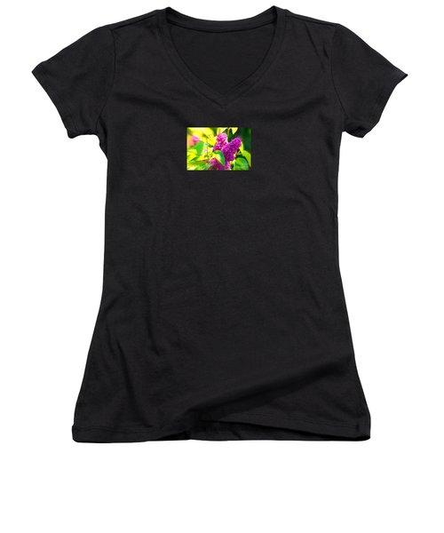 Women's V-Neck T-Shirt (Junior Cut) featuring the photograph Lilacs by Susanne Van Hulst
