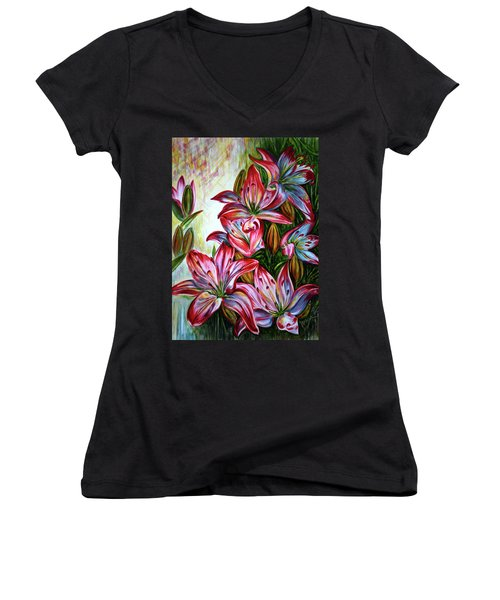 Women's V-Neck T-Shirt (Junior Cut) featuring the painting Lilies by Harsh Malik
