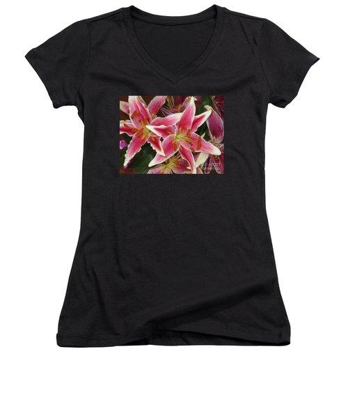 Lilies Women's V-Neck T-Shirt (Junior Cut) by Tim Townsend