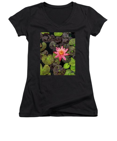 Lilly Pad, Red Lilly Women's V-Neck T-Shirt