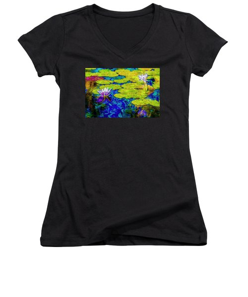 Women's V-Neck T-Shirt (Junior Cut) featuring the photograph Lilly by Paul Wear