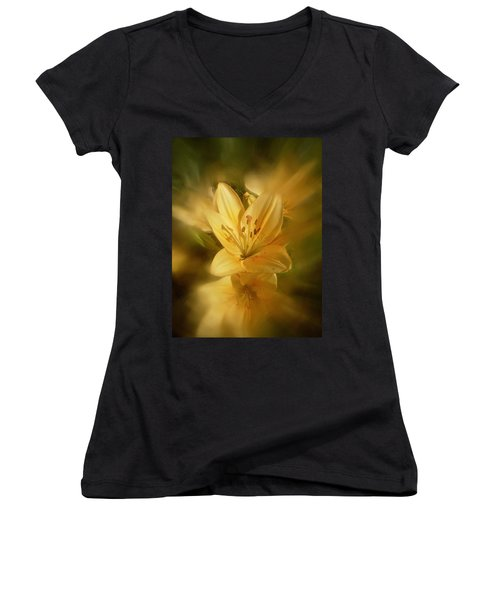 Women's V-Neck T-Shirt (Junior Cut) featuring the photograph Lily Be Mine by Richard Cummings