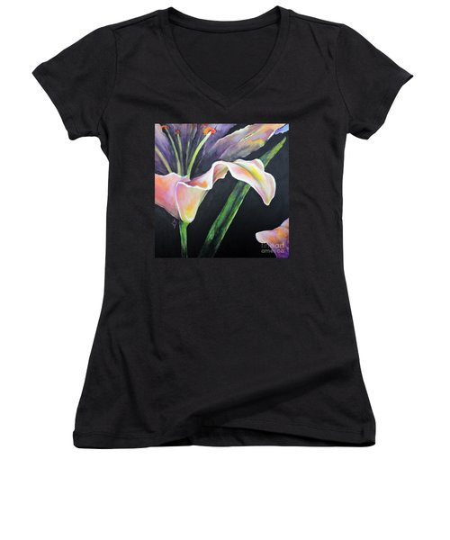 Lily Women's V-Neck T-Shirt (Junior Cut) by Jodie Marie Anne Richardson Traugott          aka jm-ART