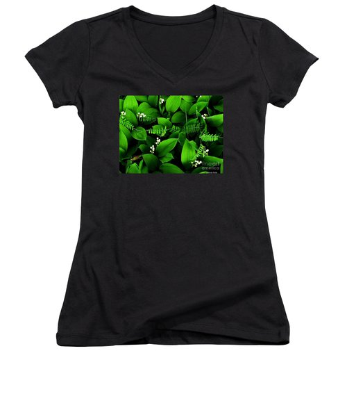 Lily Of The Valley Women's V-Neck T-Shirt (Junior Cut) by Elfriede Fulda