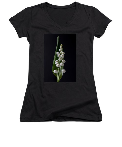 Lily Of The Valley On Black Women's V-Neck