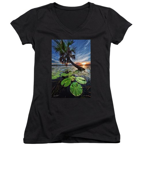 Lily Pads And Sunset Women's V-Neck (Athletic Fit)