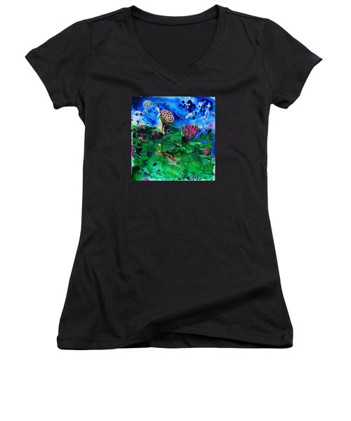 Lily Pops Women's V-Neck T-Shirt (Junior Cut) by Susan Curtin