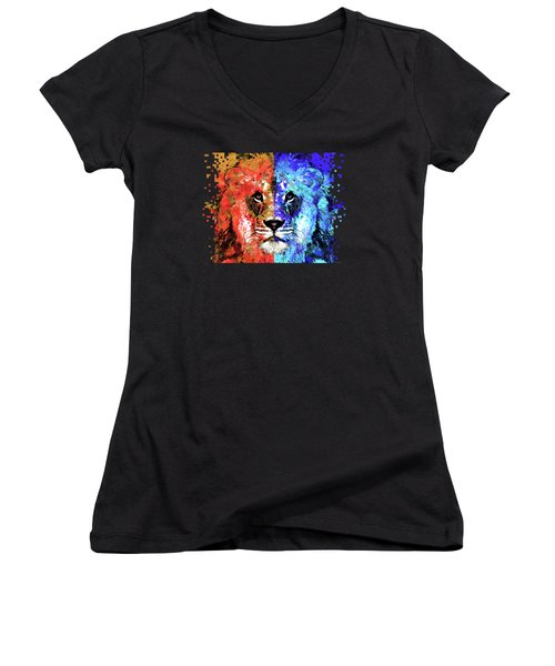 Women's V-Neck T-Shirt (Junior Cut) featuring the painting Lion Art - Majesty - Sharon Cummings by Sharon Cummings