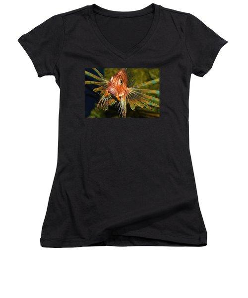 Lion Fish 2 Women's V-Neck T-Shirt (Junior Cut) by Kathryn Meyer