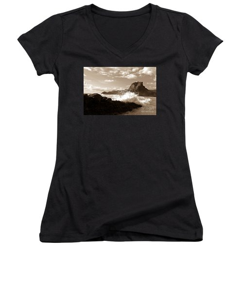 Women's V-Neck T-Shirt (Junior Cut) featuring the photograph Lion Rock On Piha Beach, New Zealand by Yurix Sardinelly