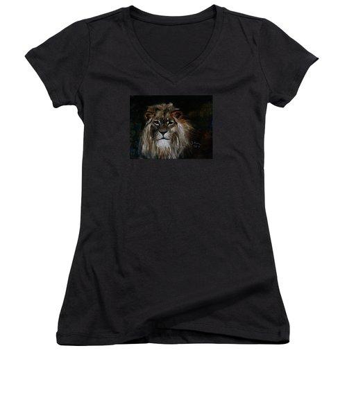 Sargas The Lion Women's V-Neck T-Shirt (Junior Cut) by Barbie Batson