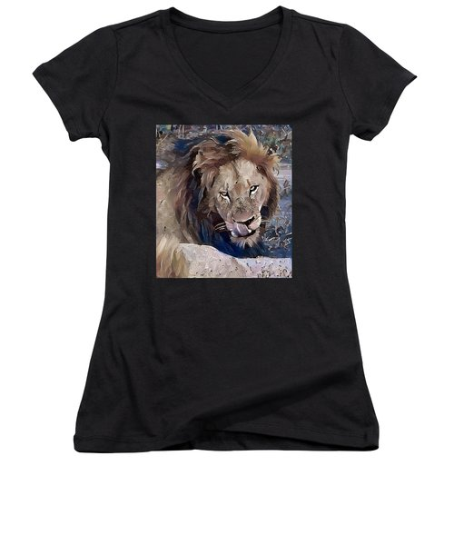 Lion With Tongue Women's V-Neck (Athletic Fit)