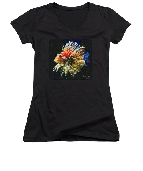 Women's V-Neck T-Shirt (Junior Cut) featuring the painting Lionfish by Dragica  Micki Fortuna