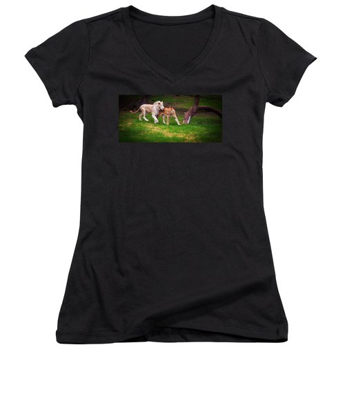 Women's V-Neck T-Shirt (Junior Cut) featuring the photograph Lions Love by Jenny Rainbow