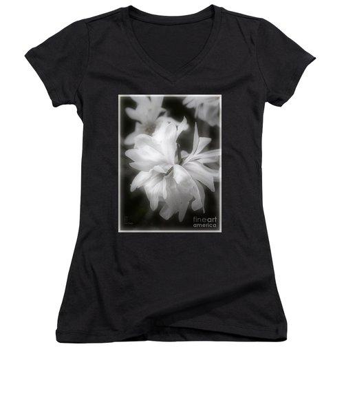 Women's V-Neck T-Shirt (Junior Cut) featuring the photograph Lisa by Elaine Teague
