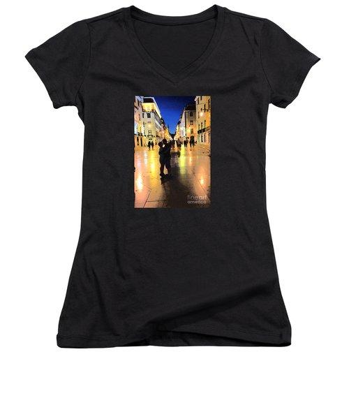 Lisbon Love Women's V-Neck T-Shirt (Junior Cut) by Tom Wurl