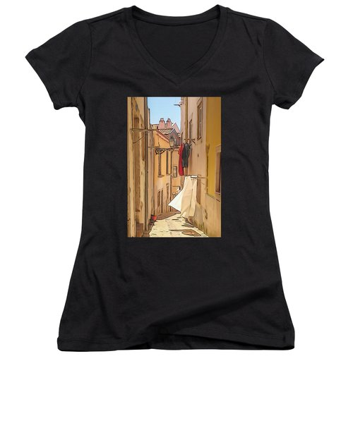 Lisbon Street #2 Women's V-Neck (Athletic Fit)