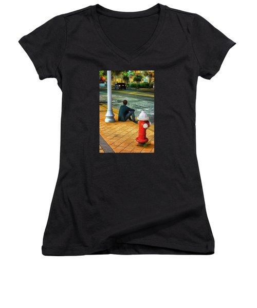 Women's V-Neck T-Shirt (Junior Cut) featuring the photograph Listening  by Beth Akerman